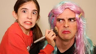 DOING DAD'S MAKEUP!!