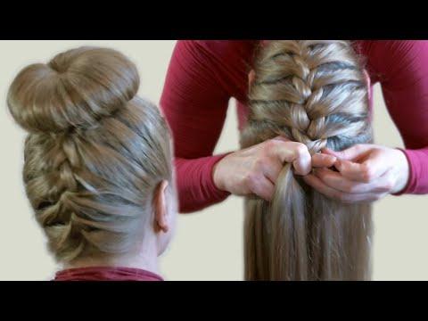Объемный Пучок из Волос с Помощью Бублика или Носка Видео Upside Down French Braid Bun Style