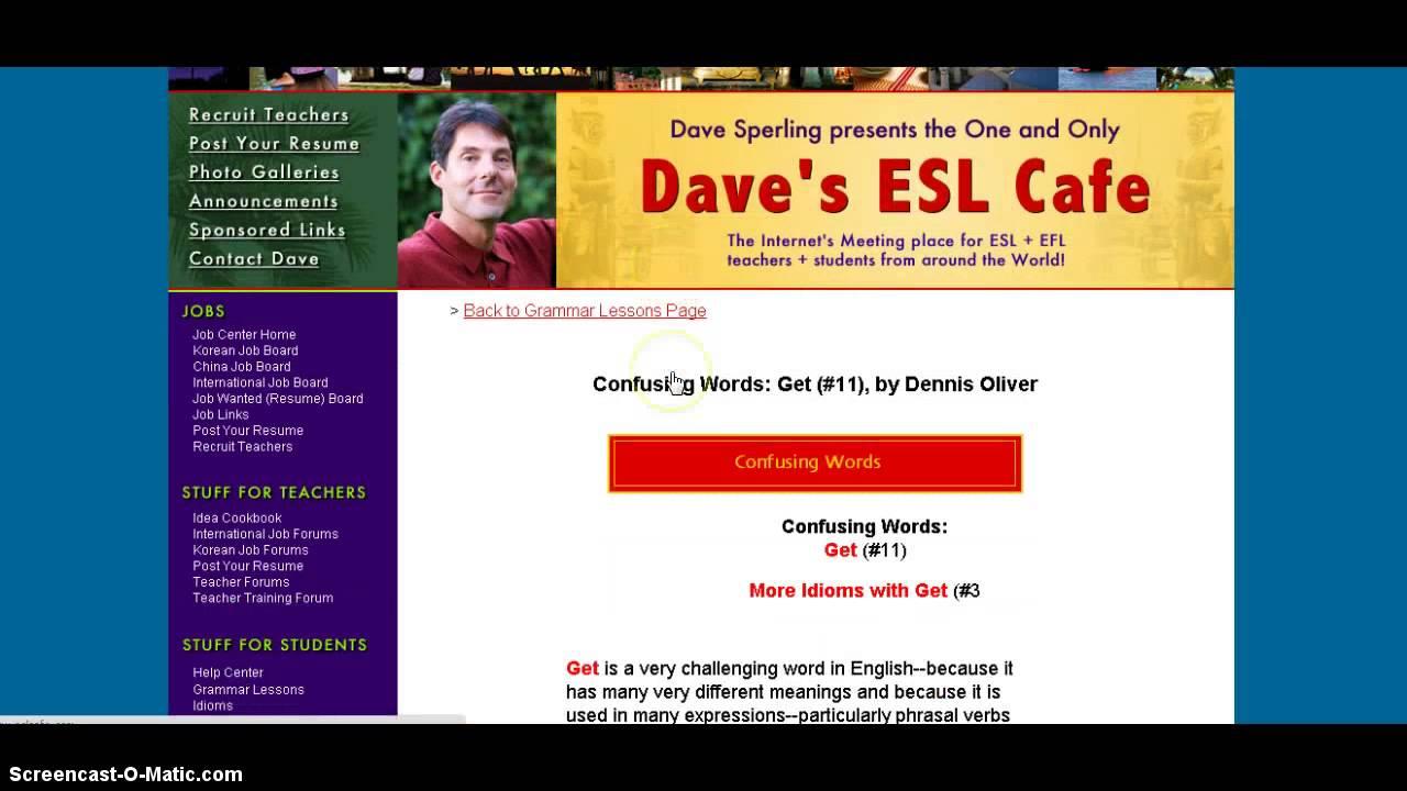 Gramma Lesson: Dave's ESL Café - YouTube  Gramma Lesson: ...
