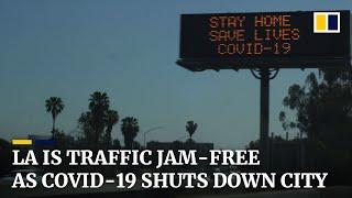 Traffic disappears from Los Angeles amid coronavirus lockdowns