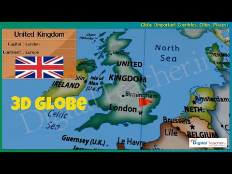 Important countries, cities and places, Globe 3D - Digital Teacher