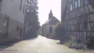 Eine Fahrt durch den Ortskern von Hammelbach im Überwald / A car ride through an Odenwald village