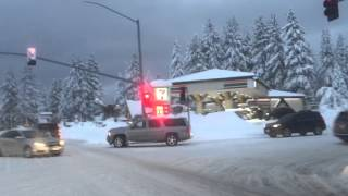 Big snow in big bear lake California driving around in the evening January 7, 2016