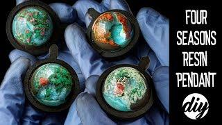 DIY! 4 Seasons Miniature Epoxy Resin Pendants/Necklace. 🌿☀�� Wisiorek z żywicy - 4 Pory Roku.