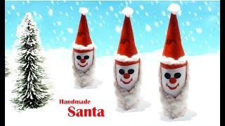 Handmade santa from plastic bottle - plastic bottle santa claus- Tuber Tip