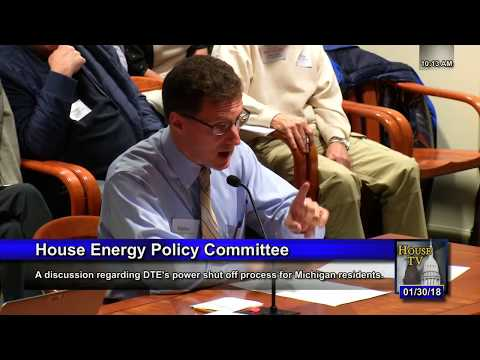 DTE ShutOffs, Testimony of Expert in Power Distribution,, 13018 MI House Energy Cmte