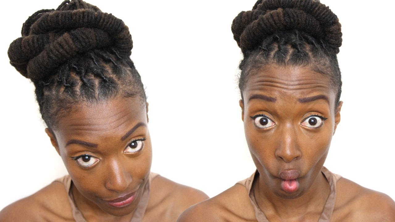 Loc Hairstyle Tutorial Barrel Bun Updo Youtube