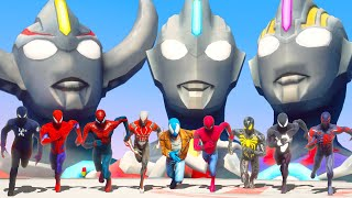 Team Spider Man VS UltraMan Army   Superheroes Iron Spider Suit \u0026 Spider Man 2099