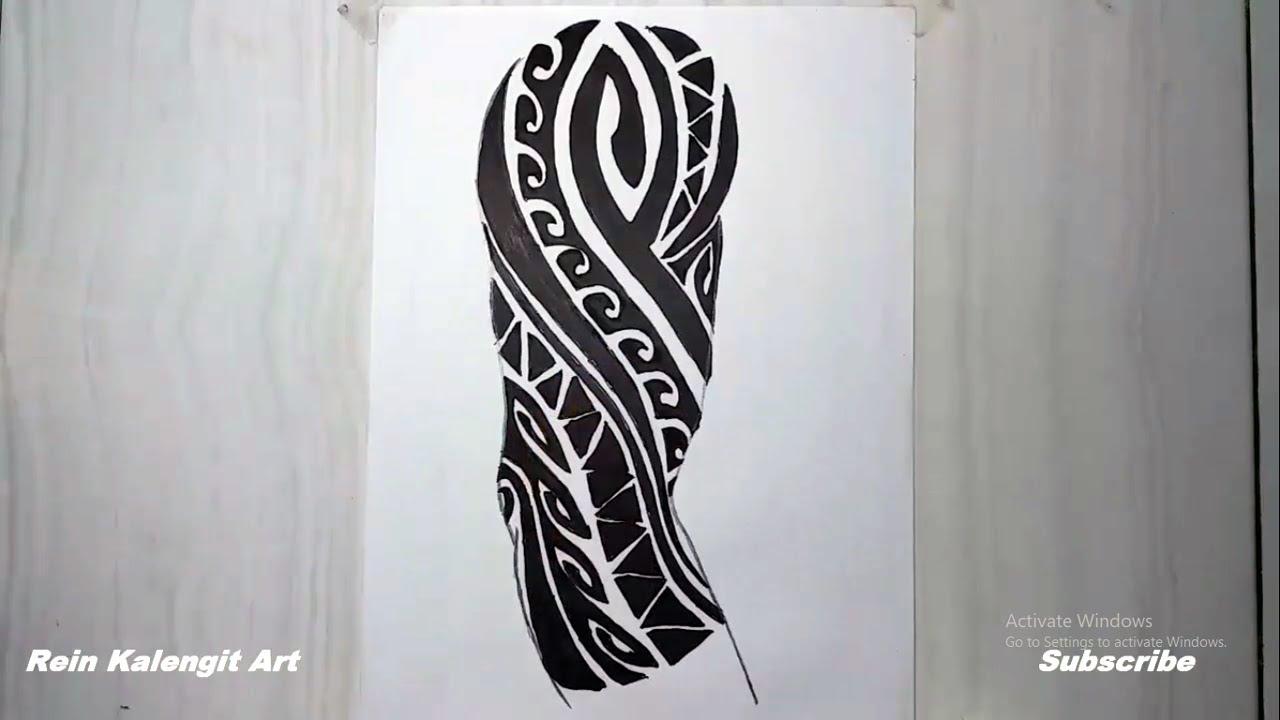 Menggambar Tatto Tribal Simpel Di Tangan Kanan Kren Tentunya Youtube