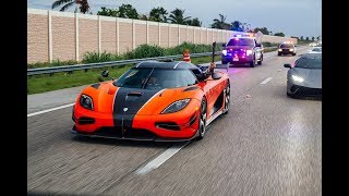 Supercars BLASTING from Lamborghini Miami FOR A CRAZY TOP SPEED RACE Halloween Supercar RUN 2017