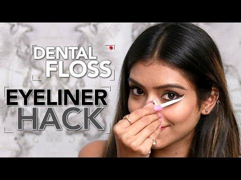diy-eyeliner-hack-|-dental-floss-eyeliner-hack-|-foxy-makeup-tutorial-|-eyeliner-video