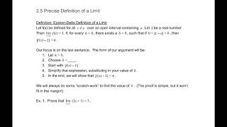 2.5 Precise Definition of a Limit