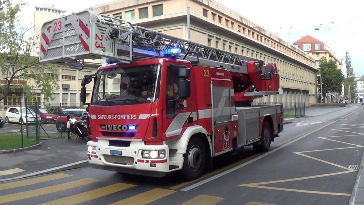 Pompiers Geneve Echelle 23 Ladder 23 Geneva Youtube