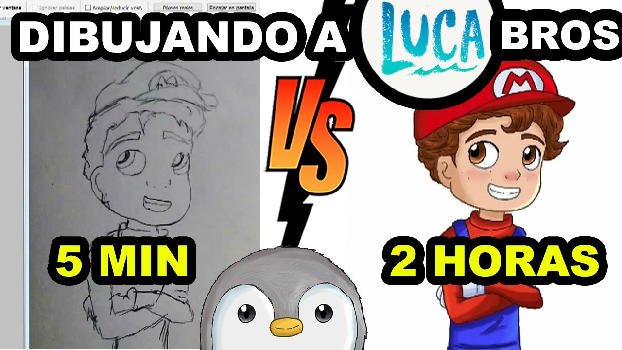 Download 🌊  Luca Mario Bros Como dibujarlo  5 minutos lapiz vs 2 hrs Tutorial PHOTOSHOP - Pachi y sus amigos