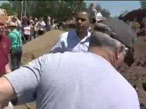Obama Helps Out with Flood Relief in Quincy, IL