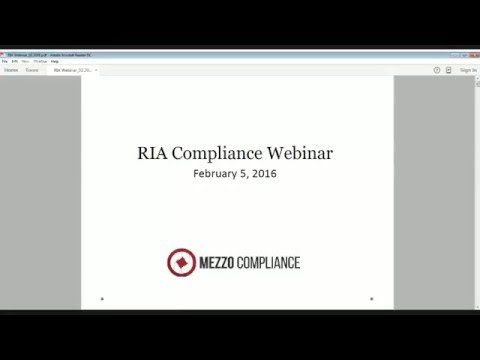 RIA Compliance Webinar - 2/5/2016