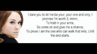 Adele One and Only Lyrics (Hd 1080p)