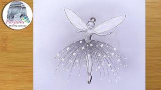 Fairy Dream scenery - step by step Pencil Sketch || How to Draw a Beautiful Fairy  || peri çizimi