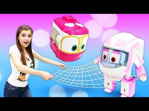 Игры в игрушки для малышей. Дозорная башня для Robots trains! Видео распаковка для малышей.