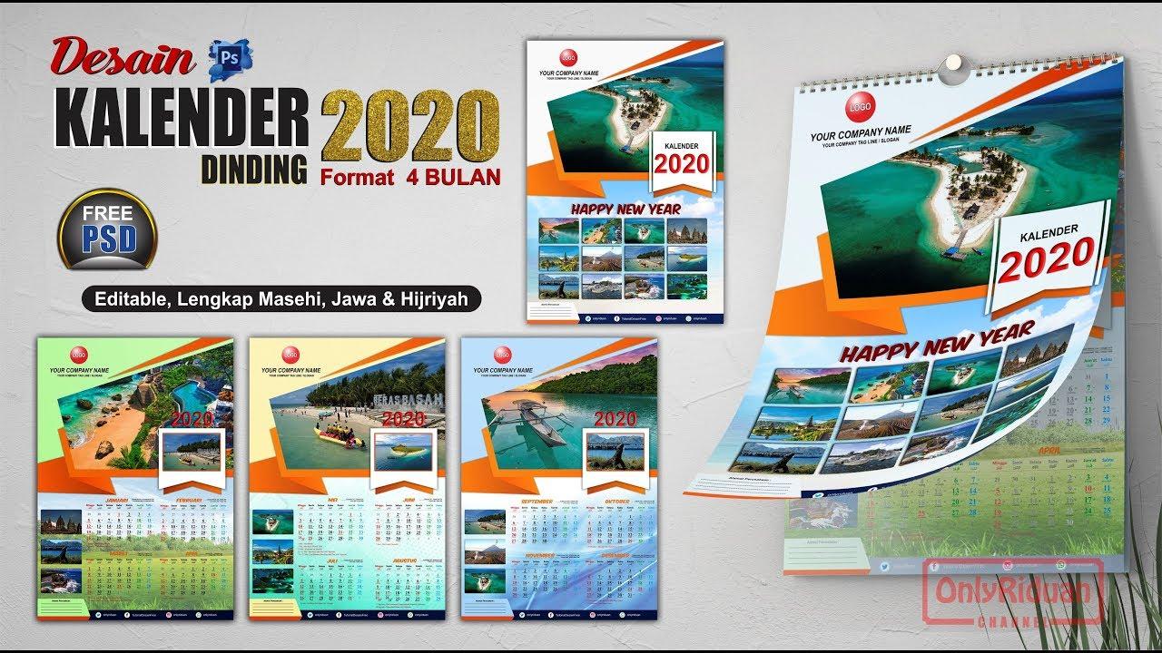 Kalender Dinding 2020 Model 4 Bulan dengan Photoshop (Free ...