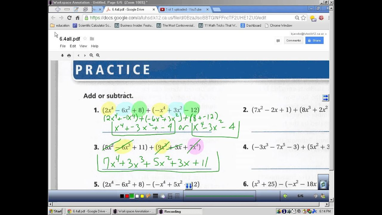 6 4 Adding And Subtracting Polynomials Practice 1 7 Odd