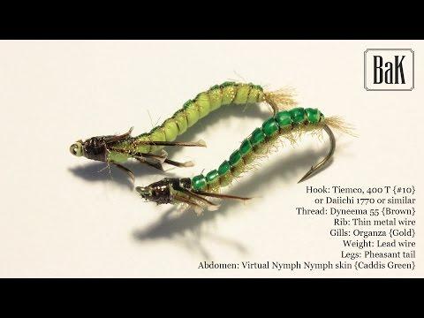 """Tying """"Kaspar Green Caddis Larva"""" - Rhyacophila  (Nymphs) by BK"""