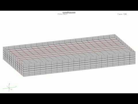 Animation of a concrete water pool  for tranverse seismic input