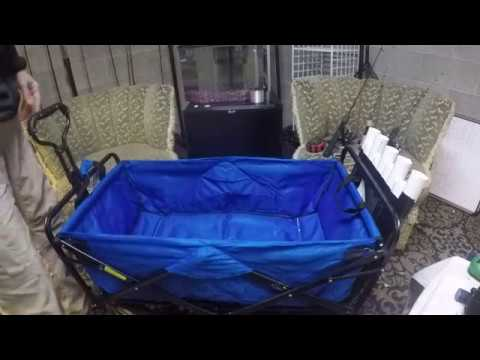 folding chair fishing pole holder cover rentals houston tx diy rod for pier bridge beach wagon youtube