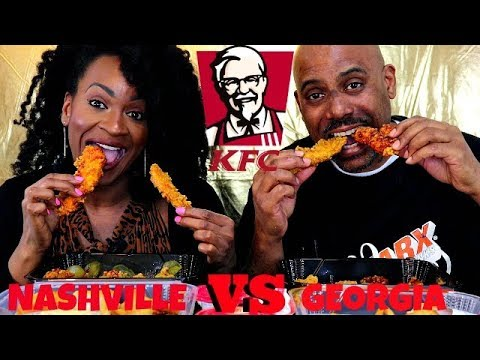 KFC NASHVILLE HOT vs GEORGIA GOLD TENDERS MUKBANG!