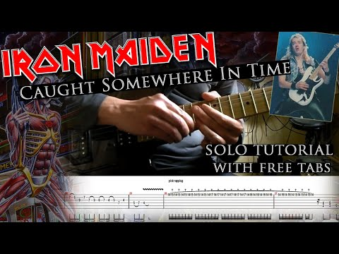 How to play Adrian Smith's solos #9 Caught Somewhere In Time (with tablatures and backing tracks)