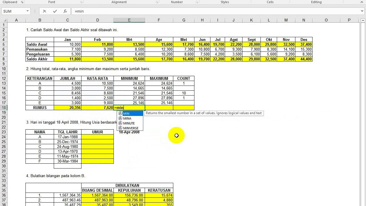 Download Soal Test Kerja Excel Untuk Admin