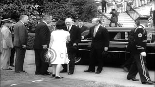 US President Lyndon Johnson greets President Eamon De Valera at the White House i...HD Stock Footage