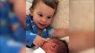 Sam Faiers shares adorable video of son Paul and newborn baby girl