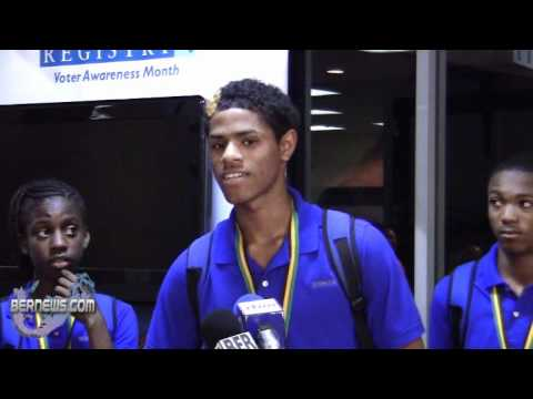 Shaquille Dill Carifta Track and Field Team Returns Bermuda April 26 2011