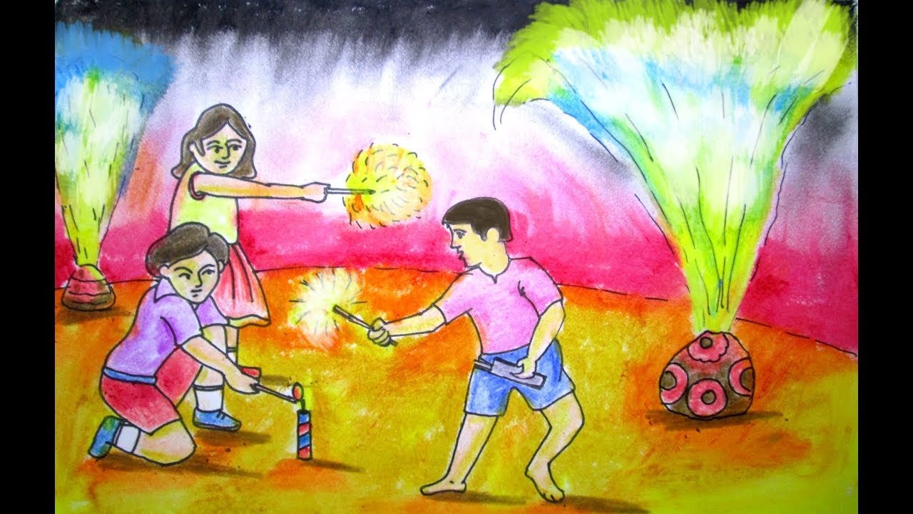 Diwali festival drawing shema puja by indrajit art school