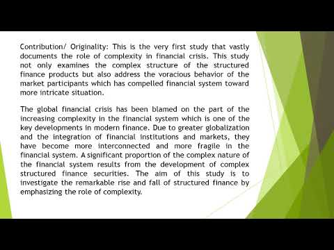 Complexity in Structured Finance and Difficulties Faced by Market Participants A Critical Assessment