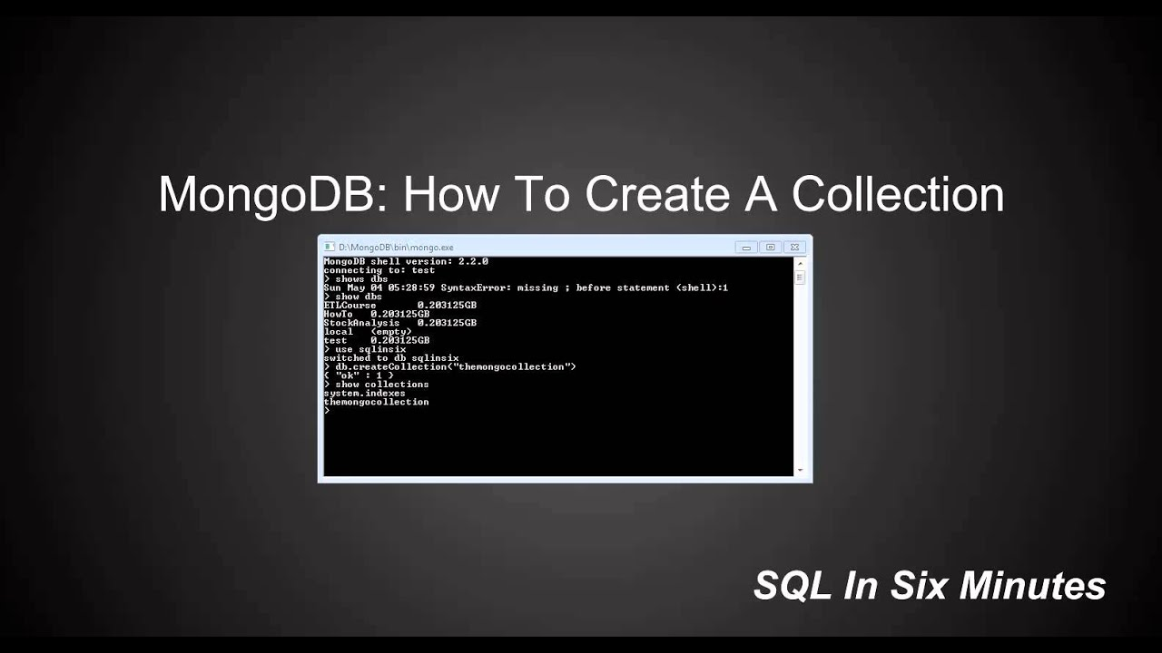 show collections in mongodb