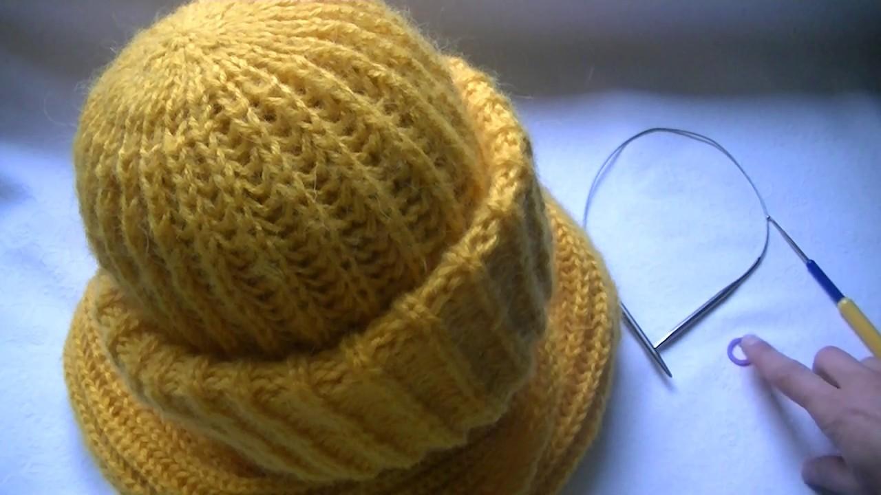 Вязание шапки из мохера с двойным отворотом узором польская .