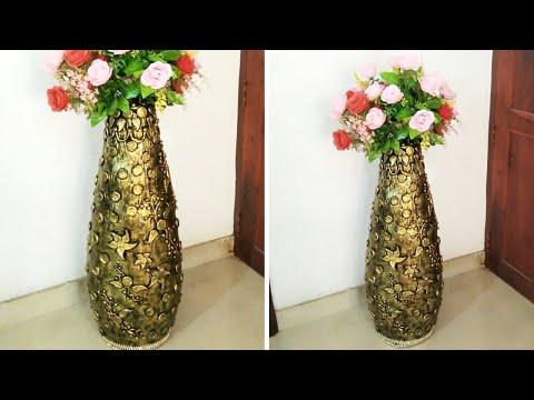 #Big Size Flower Vase From PVC Pipe And Newspaper#DIY#Flower Vase Make At Home#