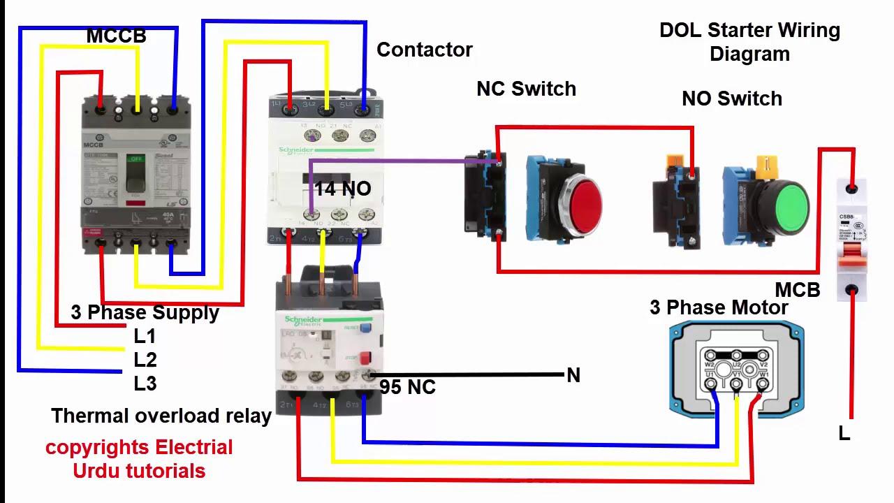 DOL starter control circuit diagram - YouTubeYouTube