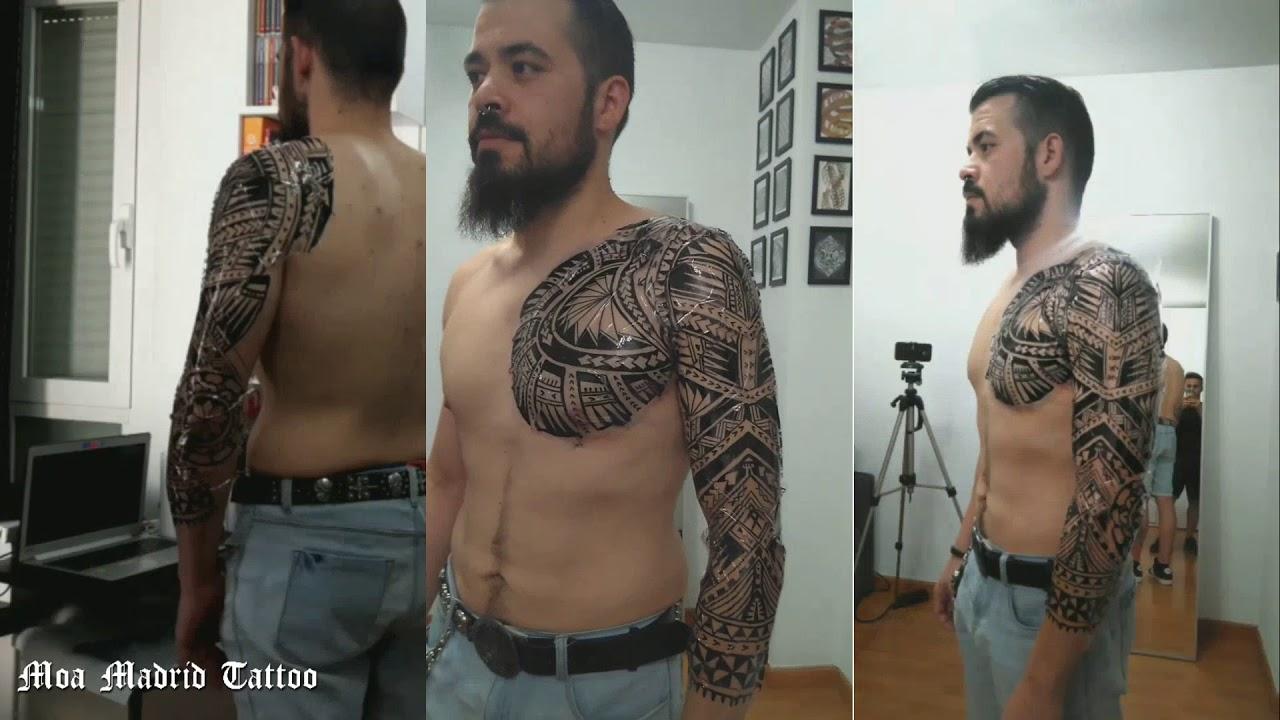Tatuaje Maorí Samoano En Pecho Hombro Brazo Para Víctor 1 Diseño