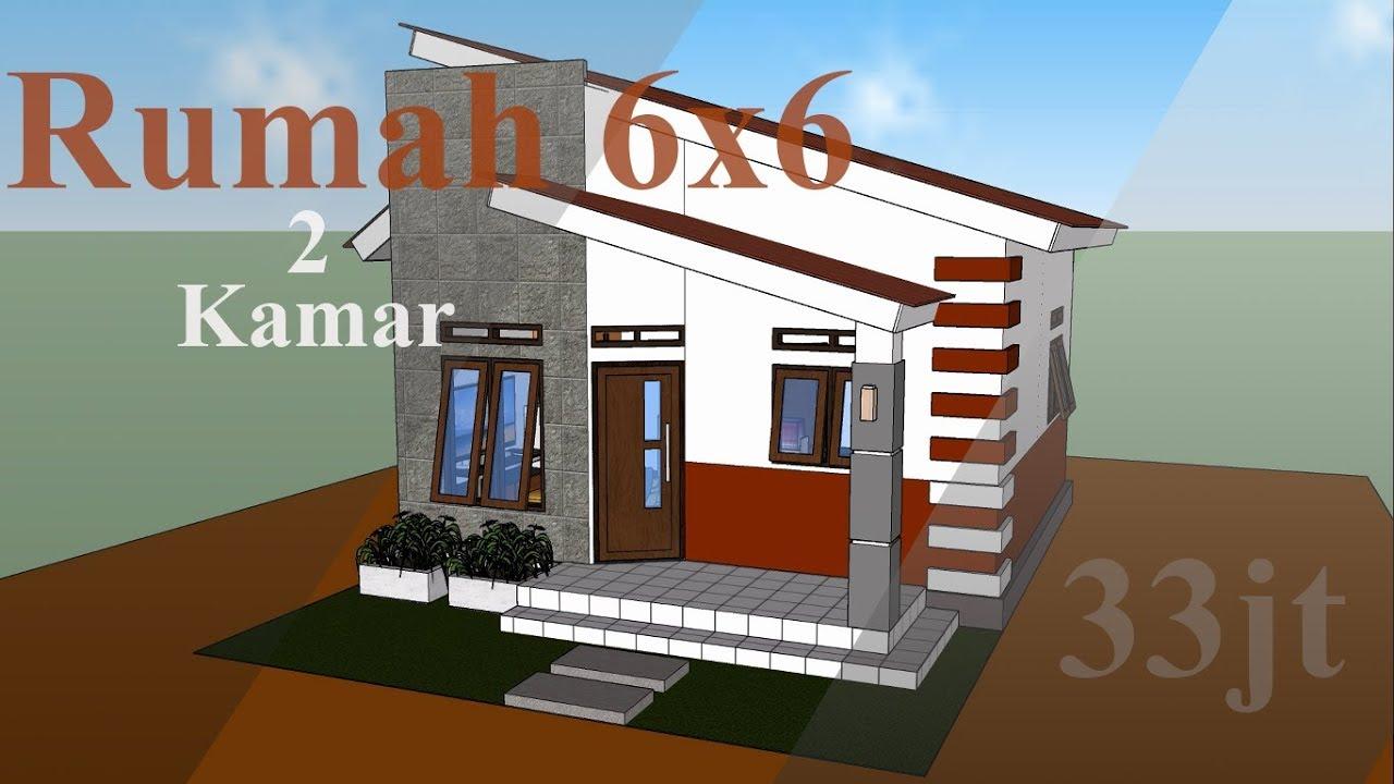Desain Rumah Minimalis Sederhana 6x6, 2 Kamar Tidur - Zidan Desain - YouTube