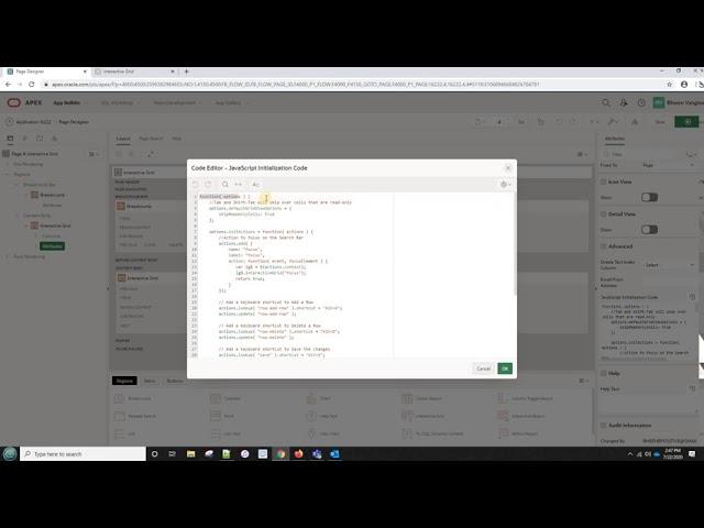 Key board shortcuts in oracle apex Interactive grid.