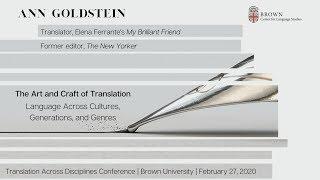 Center for Language Studies Translation Across Disciplines Keynote: Ann Goldstein