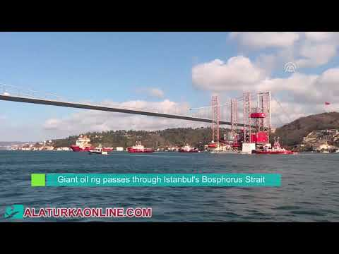 Giant oil rig passes through Istanbul's Bosphorus Strait