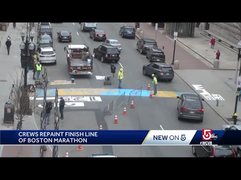Crews repaint Boston Marathon finish line