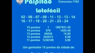LOTOFACIL CONCURSO 1163  26012015