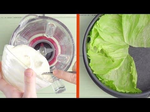 Schmeiß den Frischkäse in den Mixer und Salatblätter in...