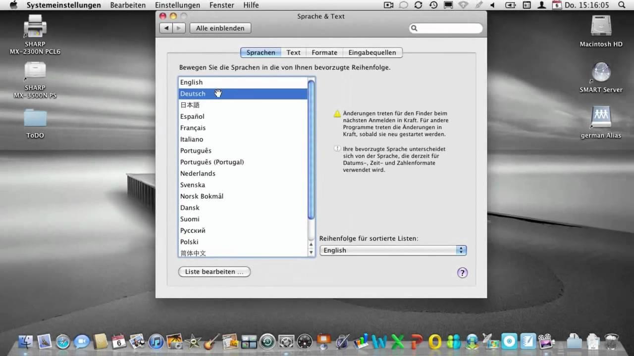 mac auf deutsch umstellen