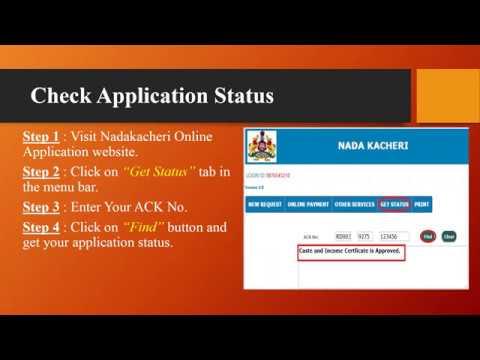 Nadakacheri Karnataka Apply For Caste Certificate & Check Application  Status Online